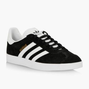 Adidas Black Suede Gazelle Lace Up Sneakers Size 6.5